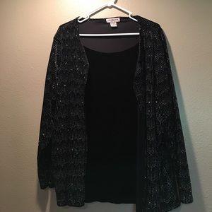 Plus Size velvet and metallic top
